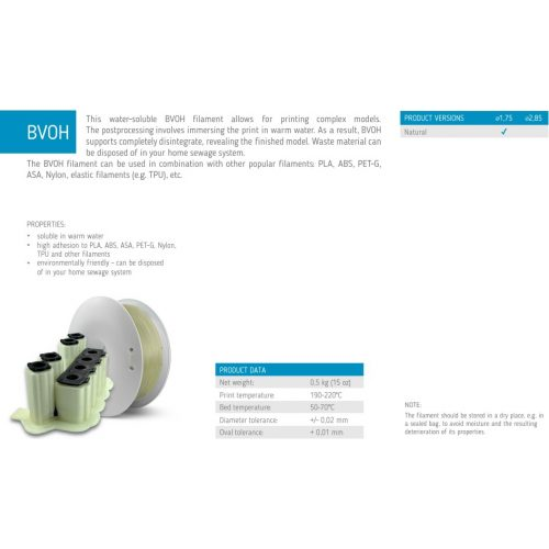 Fiberlogy: BVOH (vizzel oldható) / high adhesion to PLA, ABS, ASA, PET-G, Nylon, TPU and other filaments