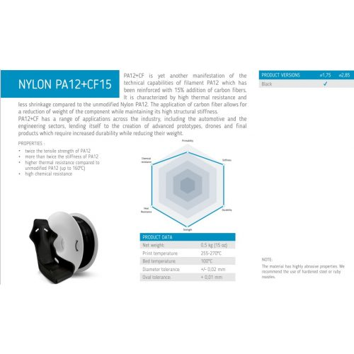 Fiberlogy: PA12 Carbon Fiber 15% 0,5kg