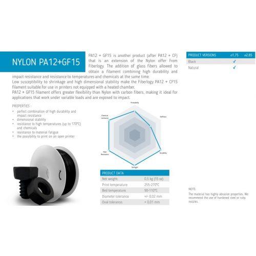 Fiberlogy: PA12 Glass Fiber 15% 0,5kg